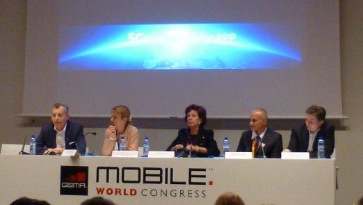 Eine 5G-Pressekonferenz auf dem Mobile World Congress.