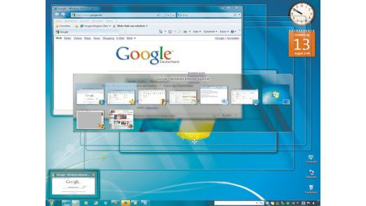 Elegante und produktive Fensterverwaltung in Windows 7.