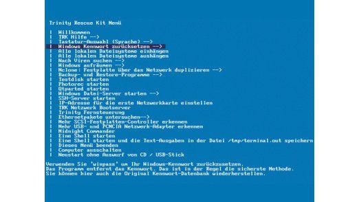 Hauptfunktionen des Notfallsystems Trinity Rescue Kit 3.4 PC-WELT-Edition.