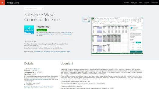 Die Salesforce Wave Connector for Excel ermöglicht den Import und die Verarbeitung von Excel-Datensätzen in der Analytics Cloud.