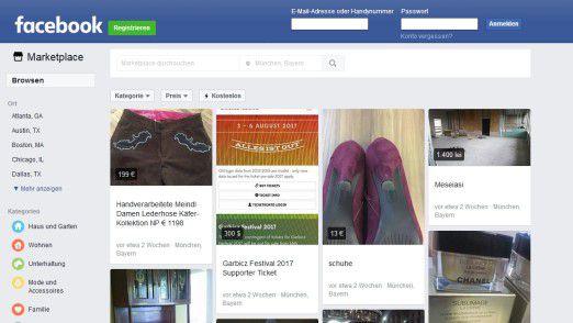 Facebook Marketplace bietet bunte Angebote in vielen Kategorien.