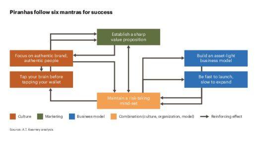 "Laut A. T. Kearney folgen Piranha-Unternehmen sechs ""Erfolgs-Mantras""."