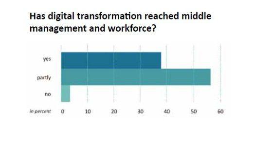 Knapp sechs von zehn Entscheidern sagen, die Bedeutung der Digitalisierung sei im mittleren Management und bei der Belegschaft erst teilweise angekommen.