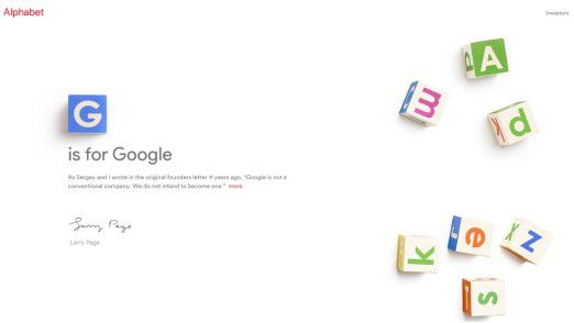 G is for Google: Screenshot der Alphabet-Homepage