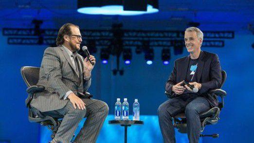 Salesforce-Mitgründer Marc Benioff (links im Bild) und Parker Harris.