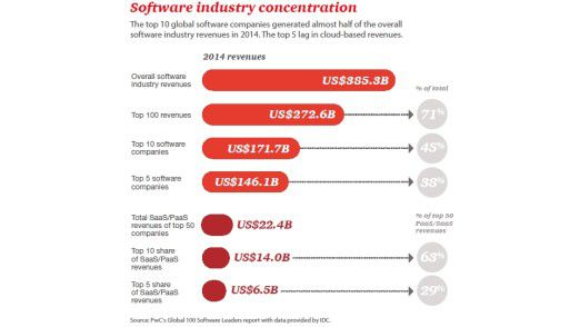 Allein die Top-5 unter den Softwareanbietern kommen auf einen Anteil von 38 Prozent am gesamten Softwaregeschäft.