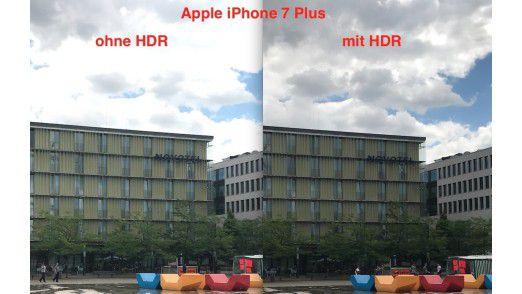 Alle vier Smartphones bieten eine gut funktionierende HDR-Funktion, die bei sehr starken Helligkeitsunterschieden ein Bild aus mehreren Aufnahmen zusammensetzt. Voreingestellt schaltet sich die HDR-Funktion automatisch zu. Exemplarisch sieht man hier die Auswirkung der HDR-Funktion am iPhone 7 Plus.