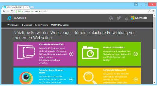Auf www.modern.ie stellt Microsoft vornehmlich für Webentwickler kostenlos virtuelle Test-PCs verschiedener Windows-Versionen mit dem Internet Explorer 6 bis 11 bereit, die Sie als Surfumgebung nutzen können.