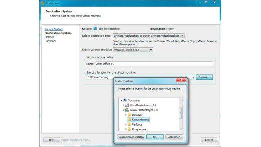 Geben Sie den Namen und den Speicherort für den virtuellen PC ein.