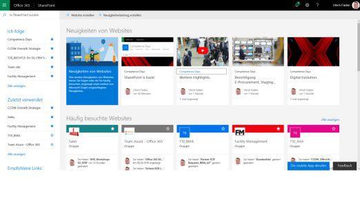 Das SharePoint User Interface präsentiert sich in zeitgemäßem Look, der Fokus liegt dabei auf der Usability.