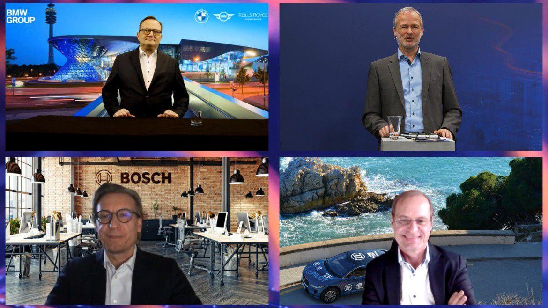 Automotive-Expertengespräch: Alexander Buresch (oben links), CIO der BMW Group, Moderator Horst Ellermann (oben rechts), Stephan Brand (unten links), CDO von Bosch Mobility Solutions und Jürgen Sturm, CIO von ZF Friedrichshafen