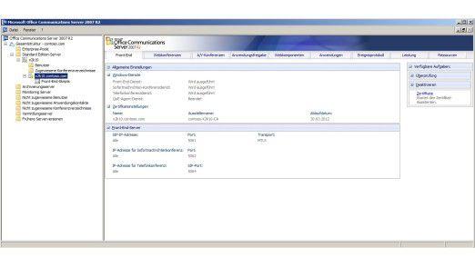 Auf einen Blick: Die Verwaltungskonsole von OCS 2007 R2 unter Windows Server 2008 R2.