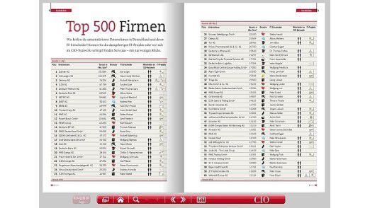 Im CIO E-Paper finden sich die deutschen Top-Unternehmen in übersichtlichen Tabellen wieder.