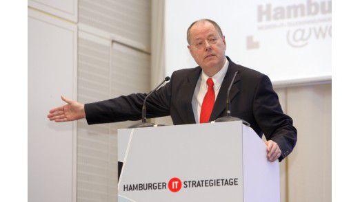 Peer Steinbrück auf den Hamburger IT-Strategietagen.