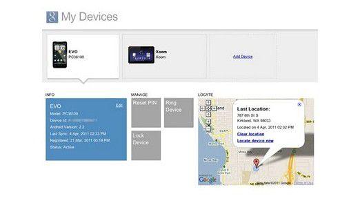 """Über die Webseite """"My Devices"""" können Anwender sich anzeigen lassen, wo sich ihr Mobilgerät befindet, es sperren oder den PIN zurücksetzen."""