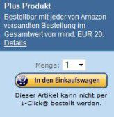 Achtung, aufgepasst: Das ist ein Plus-Produkt. Der Versand solcher Niedrigpreis-Produkte ist bei Amazon nur möglich, wenn ein Mindestbestellwert von 20 Euro erreicht wird.