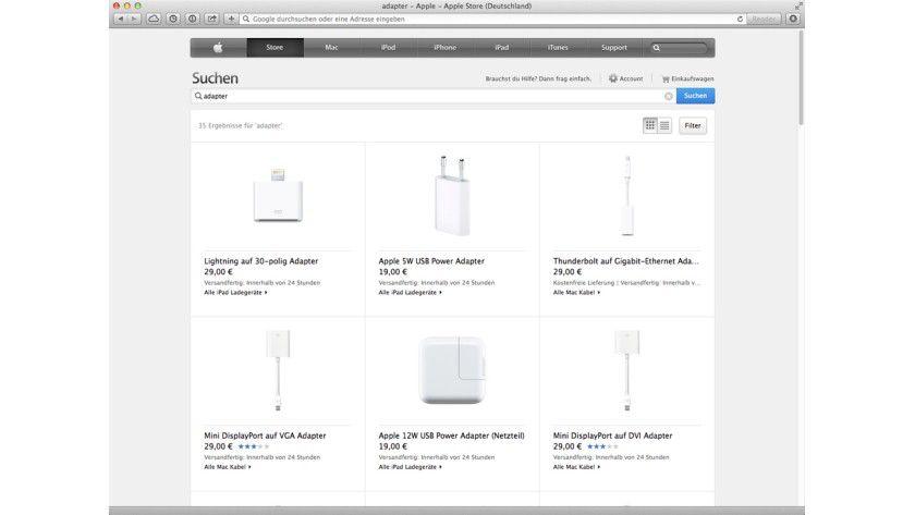 Eine Schattenseite des tollen Mac-Designs: Man benötigt viele Adapter.