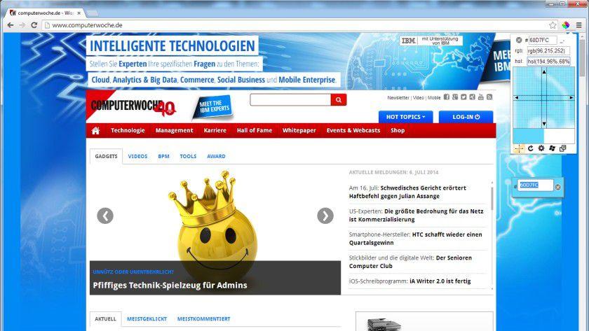ColorPick Eyedropper unterstützt den Web-Designer bei der Feststellung der Farbwerte auf Web-Seiten.