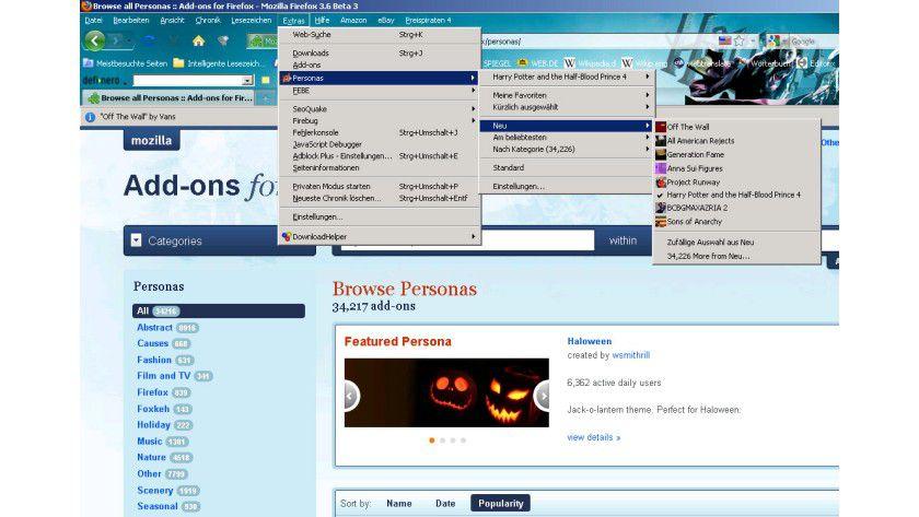 Styling: Mit Personas kann die Oberfläche von Firefox schnell verändert werden.