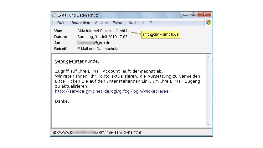 Achtung: Phishige GMX-Mail.