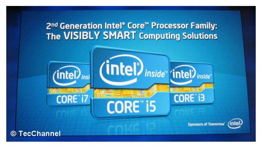 Neue Logos: Der Core i3, i5 und i7 mit Sandy-Bridge-Architektur erhalten aufgefrischte Logos.
