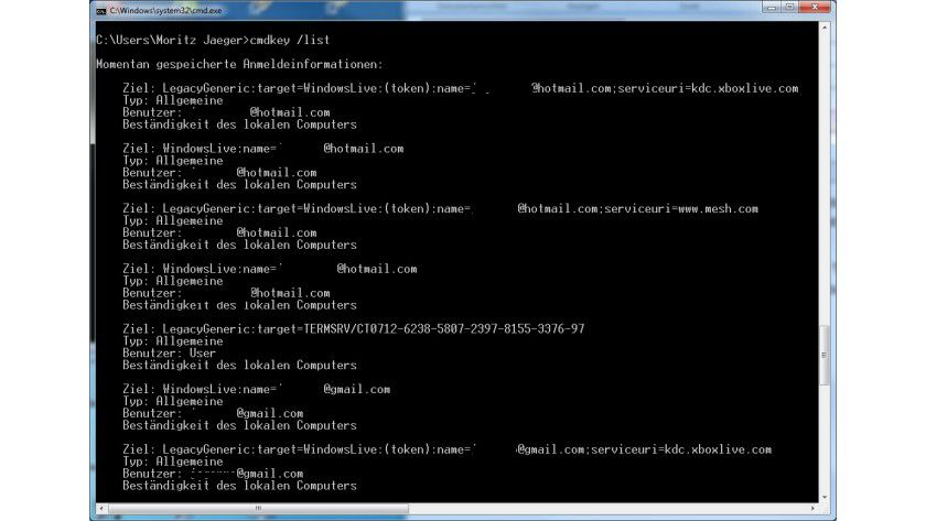 Zugangsdaten: Der Befehl cmdkey kann alle Anmeldedaten auf lokalen oder Netzwerk-Windows-Installationen anzeigen.