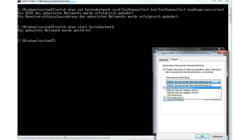 Besser als Ad-Hoc: Windows 7 bringt alle Funktionen für einen virtuellen Hotspot mit.