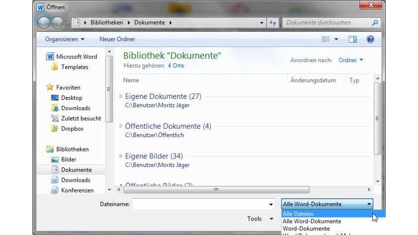 Alles öffnen: Mit der richtigen Einstellungen werden auch ZIP-Dateien angezeigt.