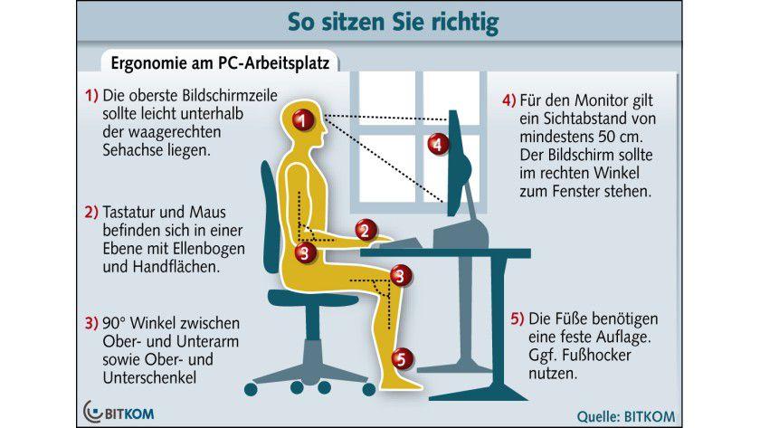 Platzwahl: Nicht nur seinem Rücken zuliebe sollte man einige Punkte beim PC-Arbeitsplatz beachten.