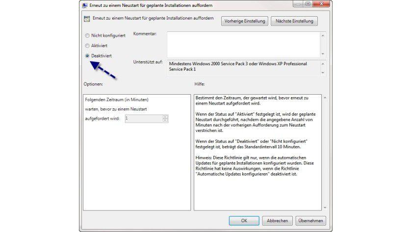 Abschalten: So deaktivieren Sie die Neustart-Meldung in Windows 7.