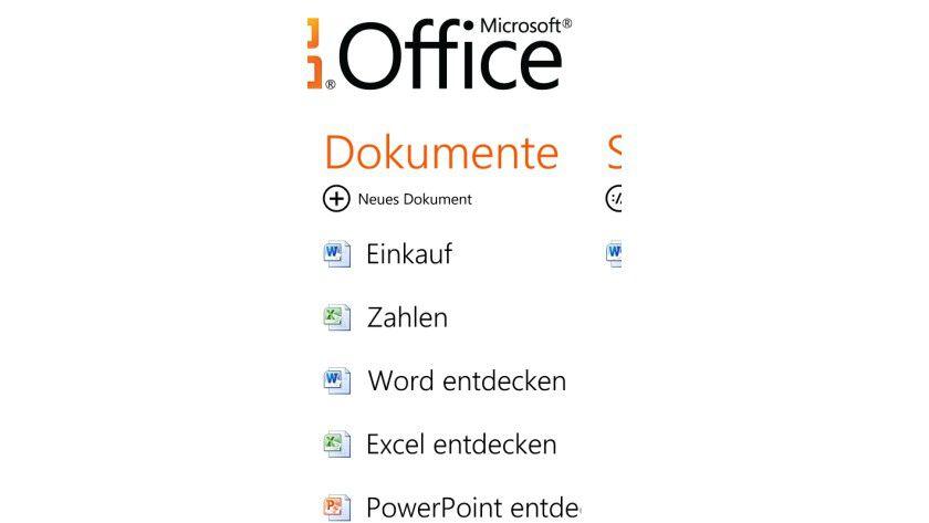 Neues Dokument anlegen: Über den gleichnamigen Punkt können Sie neue Word- oder Excel-Dateien anlegen.