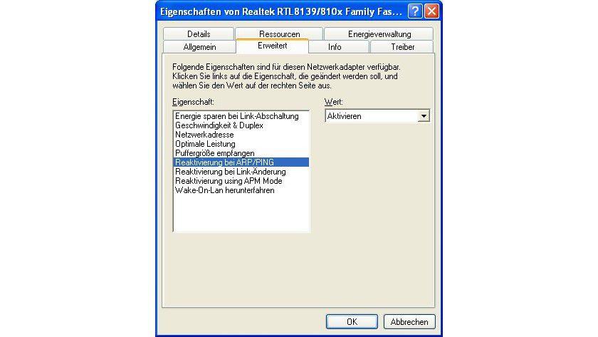 Reaktivierung: Wenn man unter Windows den erweiterten Eigenschaften des Netzwerkadapters entsprechende Werte zuweist, kann auch Linux die Karte wieder verwenden.