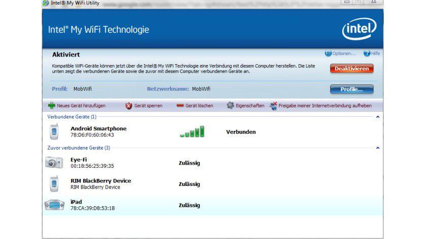 Notebook-Hotspot: Intel bietet mit dem My-WiFi-Tool die Möglichkeit an, einen Hotspot für Centrino-WLAN-Lösungen zu erstellen.
