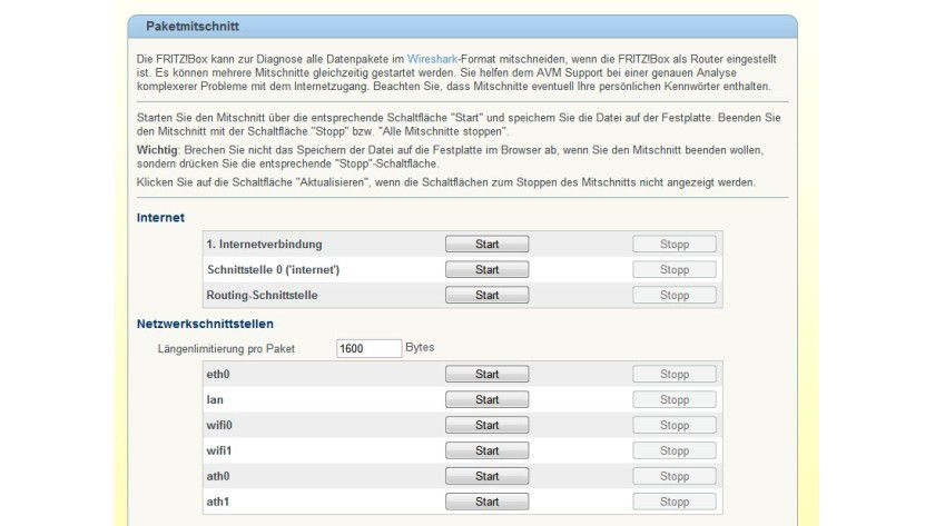 Aufnahme: Die FritzBox kann die Datenpakete im Wireshark-Format mitschneiden.