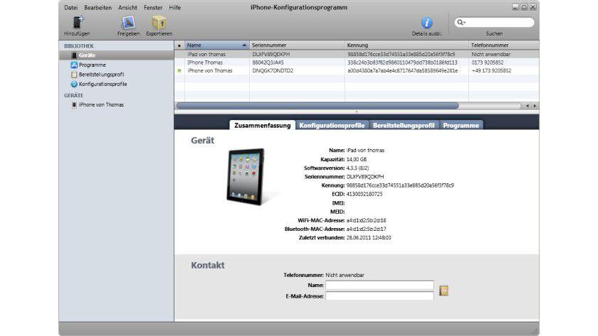 Hilfreiches Werkzeug: Mit dem iPhone-Konfigurationsprogramm kann man Profile erstellen.