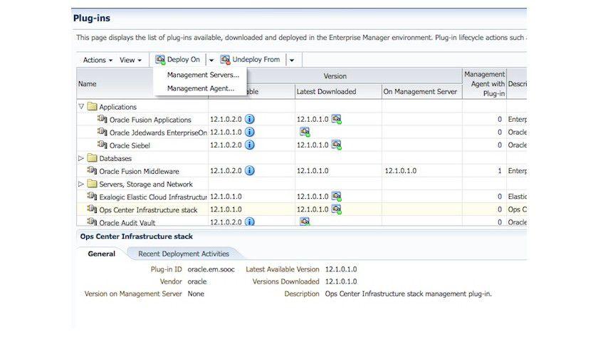 Details: Der Oracle Enterprise Manager 12c integriert den Oracle Enterprise Manager Ops Center 11g als Plug-in.