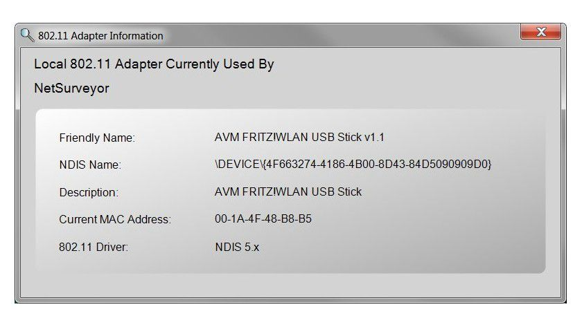 Adapter-Info: NetSurveyor verrät eine Reihe von Details zur verwendeten WLAN-Schnittstelle.