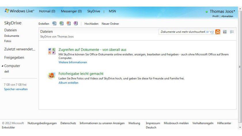 Praktisch: Microsoft bietet Cloud-Speicher und parallel Online-Versionen von Office an.