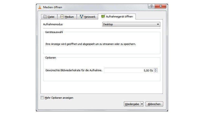 Screencast: Um den VLC media player als Bildschirmrekorder zu nutzen, muss man als Aufnahmemodus den Desktop auswählen.