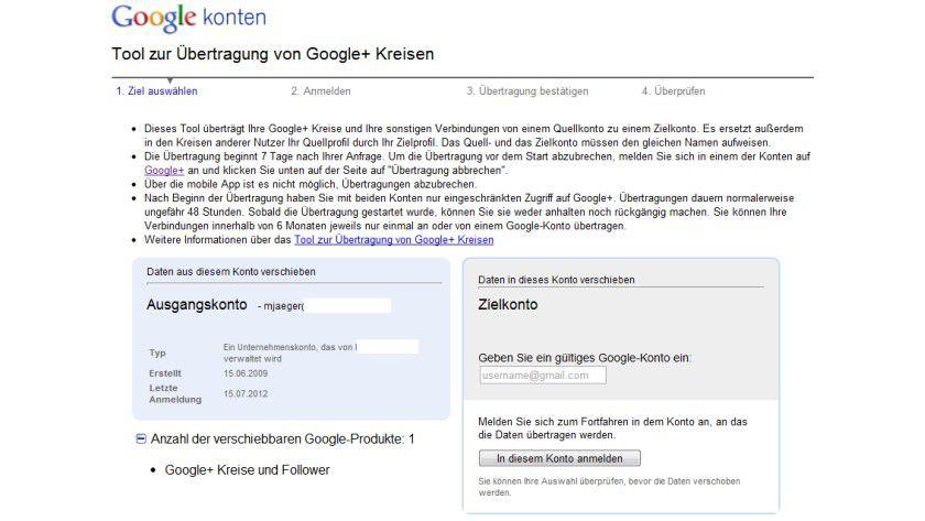 Verschieben: Das Tool migriert Informationen und Kreise zwischen verschiedenen Google+-Konten.