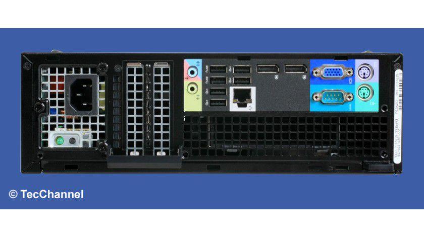 Rückansicht: Der Dell OptiPlex 7010 SF bietet alle für den Business-Einsatz notwendigen Schnittstellen inklusive einer Kensington-Lock-Vorrichtung und PS/2-Interfaces für Tastatur und Maus.