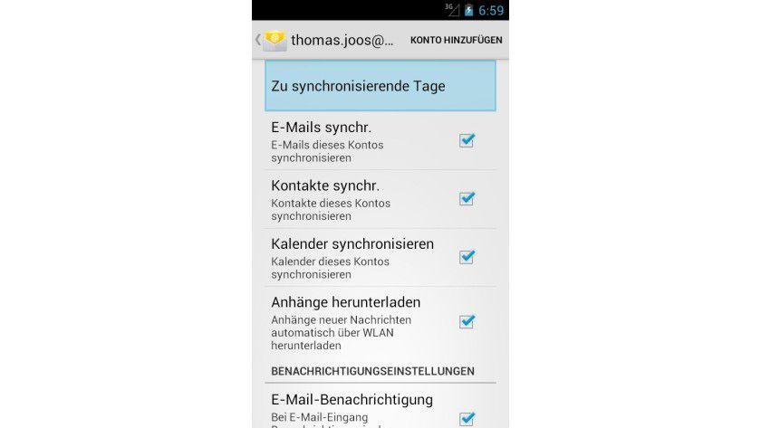 Auswahl: In den Einstellungen von E-Mail-Konten können Sie auch konfigurieren, ob Sie Kontakte und den Kalender synchronisieren wollen.