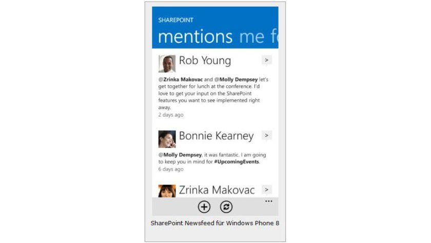 Auf dem Smartphone: SharePoint Newsfeed für Windows Phone 8.