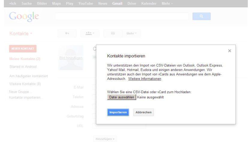 Sicherheitshalber: Kontakte lassen sich zur Sicherung in Google-Konten ex- oder importieren.