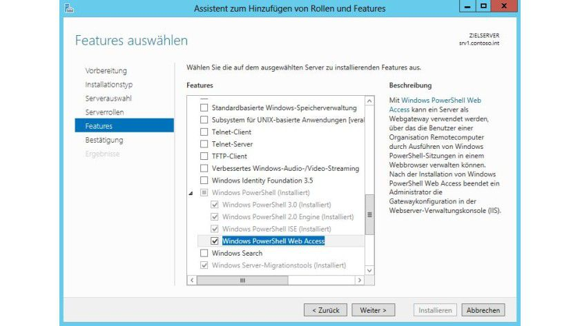Simpel: PowerShell Web Access installieren Sie über den Server-Manager als Feature.