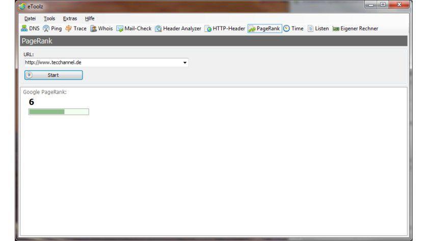 Bewertet und gewichtet: Mit der Abfrage des Google PageRank zeigt eToolz die Popularität von Internetseiten an.
