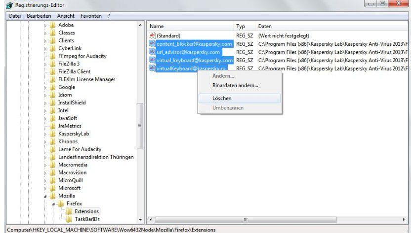 Aufräumen: Aufgrund von Firefox-Updates inkompatibel gewordene Kaspersky-Plug-ins werden Sie nur manuell wieder los, indem Sie die Registry bearbeiten.