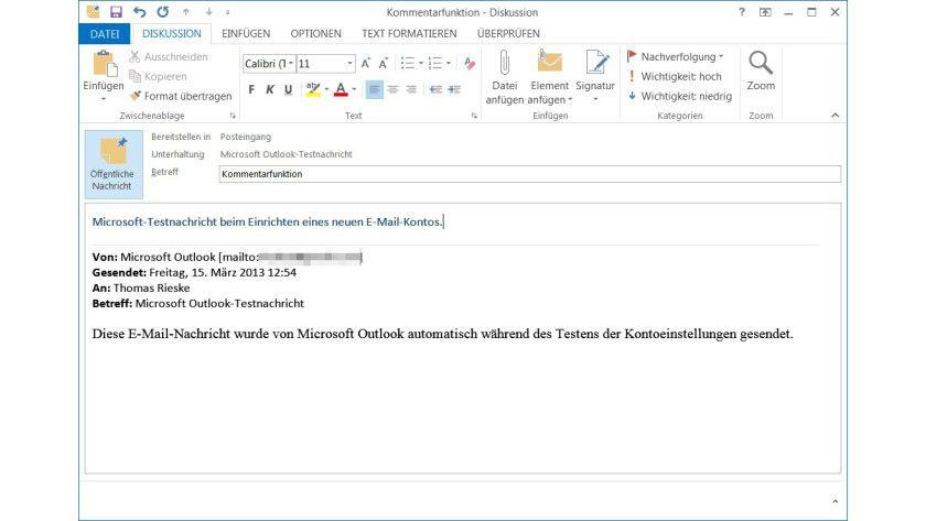 Notizfunktion: In Outlook lassen sich eigene Anmerkungen zu E-Mails anlegen. Damit der Bezug zur ursprünglichen Nachricht gewahrt bleibt, fügt der Client deren Inhalt automatisch ein.