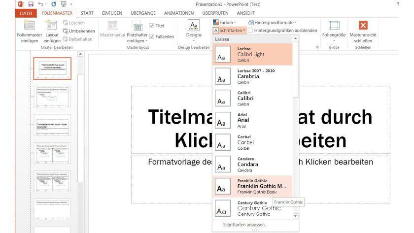 In einem Rutsch: Schriftarten in einer Präsentation lassen sich schnell und bequem wechseln, wenn man den Folienmaster anpasst.