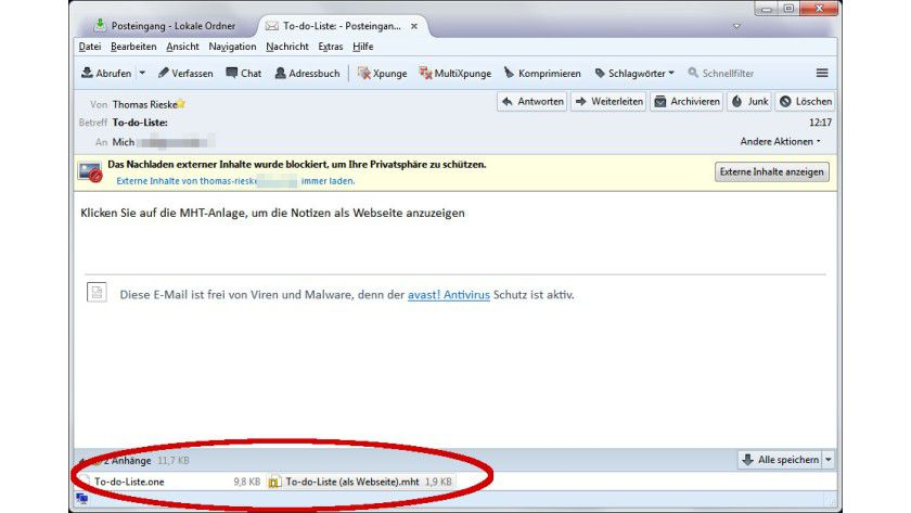 Doppelt hält besser: Eine aus OneNote heraus übertragene E-Mail mit Notizen enthält zwei Attachments. Auf diese Weise kommt der Empfänger auch ohne OneNote an den Inhalt.
